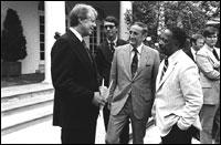 President Jimmy Carter and program founder John Gardner in the Rose Garden.