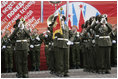 A military band performs in Moscow's Red SquareduringRussia'scommemoration of the 60th anniversary of the end of World War II Monday, May 9, 2005.