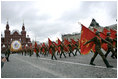 Russian solders march in a military procession commemorating the 60th anniversary of the end of World War II in Moscow's Red Square Monday, May 9, 2005.