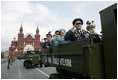 Veterans of Russia's military ride through Moscow's Red Square in a parade commemorating the end of World War II Monday, May 9, 2005.