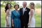 President George W. Bush and Mrs. Laura Bush pose with daughters Jenna and Barbara Saturday, May 10, 2008, at Prairie Chapel Ranch in Crawford, Texas, prior to the wedding of Jenna and Henry Hager. White House photo by Shealah Craighead