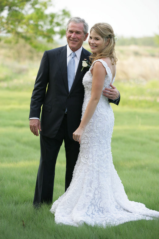 President George W. Bush and Jenna Bush pose for a photographer Saturday, May 10, 2008, prior to Jenna's wedding to Henry Hager at Prairie Chapel Ranch in Crawford, Texas. White House photo by Shealah Craighead