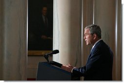 """President George W. Bush delivers a statement on Iraq Thursday, April 10, 2008, from Cross Hall in the White House. Said the President, """"All our efforts are aimed at a clear goal: A free Iraq that can protect its people, support itself economically, and take charge of its own political affairs."""" White House photo by Joyce N. Boghosian"""