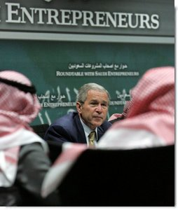 President George W. Bush participates in a roundtable discussion with Saudi entrepreneurs Tuesday, Jan. 15, 2008, at the United States Embassy in Riyadh. White House photo by Chris Greenberg