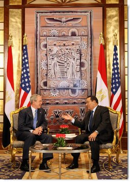President George W. Bush meets with Egyptian President Hosni Mubarak in Sharm El Sheikh South Sinai, Egypt, Wednesday, Jan. 16, 2008. White House photo by Eric Draper
