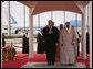 President George W. Bush and King Abdullah bin Abdul Al-Aziz stand for their national anthems Monday, Jan. 14, 2008, after the President arrived at Riyadh-King Khaled International Airport in Riyadh, Saudi Arabia. White House photo by Eric Draper