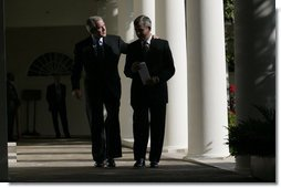 """President George W. Bush and Secretary of Agriculture Mike Johanns leave the Rose Garden Thursday, Sept. 20, 2007, after the President announced Mr. Johann's resignation and the Secretary's decision to return to his home state of Nebraska. """"Mike has been an outstanding member of my Cabinet,"""" said President Bush. """"I thank him from the bottom of my heart for leaving a state he loves to come here to Washington, D.C."""" White House photo by Eric Draper"""