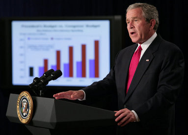 President George W. Bush delivers remarks on the Fiscal Year 2008 budget Wednesday, July 11, 2007, in the Eisenhower Executive Office Building. The President\'s budget lays out a detailed plan to balance the budget by 2012 while keeping taxes low. White House photo by Eric Draper