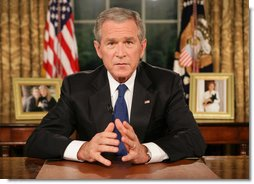 """President George W. Bush concludes his address to the nation from the Oval Office Thursday evening, Sept. 13, 2007. Supporting the recommendations issued in a report from General David Petraeus, President Bush said, """"Now, because of the measure of success we are seeing in Iraq, we can begin seeing troops come home."""" White House photo by Eric Draper"""