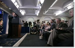President George W. Bush responds to a reporter's question Thursday, Sept. 20, 2007, during a press conference in the James S. Brady Briefing Room of the White House. White House photo by Eric Draper