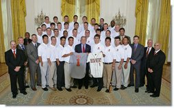 President George W. Bush stands with members of Oregon State University Baseball Team Championship Team Friday, Sept. 21, 2007, at the White House during a photo opportunity with the 2006 and 2007 NCAA Sports Champions. White House photo by Eric Draper