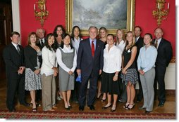 President George W. Bush stands with members of Duke University Women's Golf Team Championship Team Friday, Sept. 21, 2007, at the White House during a photo opportunity with the 2006 and 2007 NCAA Sports Champions. White House photo by Eric Draper