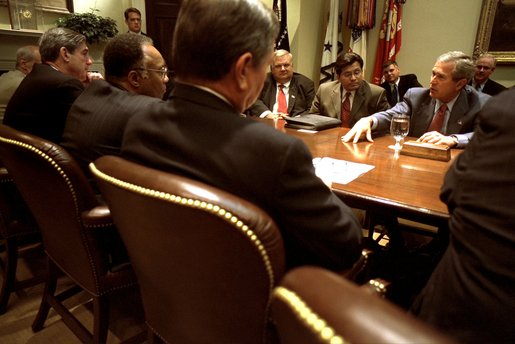 President Bush meets with the members of the Corporate Responsibility task force in the Roosevelt Room, July 12, 2002.