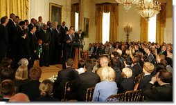 President George W. Bush congratulates members of the 2008 NBA Championship Boston Celtics Friday, Sept. 19, 2008 at the White House. In addition to their accomplishments on the court, the Celtics were also acknowledged for their donation of over $100,000 to the American Red Cross for those affected by Hurricane Ike. White House photo by Joyce N. Boghosian