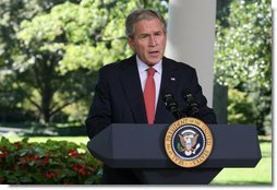"""President George W. Bush delivers a statement on the economy Thursday, Sept. 18, 2008, in the Oval Colonnade of the White House. Said the President, """"Our financial markets continue to deal with serious challenges. As our recent actions demonstrate, my administration is focused on meeting these challenges. The American people can be sure we will continue to act to strengthen and stabilize our financial markets and improve investor confidence."""" White House photo by Joyce N. Boghosian"""