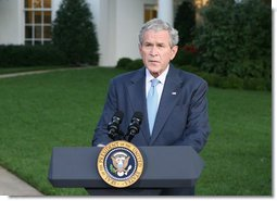 """President George W. Bush delivers a statement at the White House Monday, Sept. 29, 2008, on Financial Rescue Legislation. Said the President, """"This legislation deals with complex issues, and negotiators were asked to address them in a very short period of time. I appreciate the leadership of members on both sides of the aisle, who came together when our nation was counting on them. Negotiations are sometimes difficult, but their hard work and cooperation paid off.""""  White House photo by Chris Greenberg"""