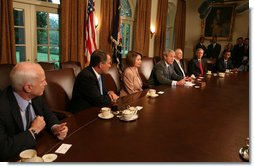 President George W. Bush speaks during a meeting with Bicameral and Bipartisan members of Congress Thursday, Sept. 25, 2008, in the Cabinet Room of the White House. Included in the meeting with the President are, from left: Sen. John McCain, R-Ariz., House Minority Leader John Boehner, R-Ohio, House Speaker Nancy Pelosi, D-Calif.; Senate Majority Leader Harry Reid, D-Nev.; Senate Minority Leader Mitch McConnell, R-Ky., and Sen. Barack Obama, D-Ill. White House photo by David Bohrer
