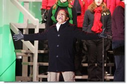 """Seventh-grader Julian Ivey, who just completed a 6-month run on Broadway as Simba in """"The Lion King,"""" performs onstage Thursday, Dec. 6, 2007, at the Ellipse during the lighting of the National Christmas Tree. White House photo by Joyce N. Boghosian"""