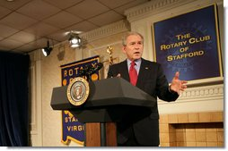 President George W. Bush delivers remarks on the economy during a visit Monday, Dec. 17, 2007, to Fredericksburg, Va., where he spoke to an audience of business and community leaders from the Rotary Club of Stafford, the Fredericksburg Rotary Club, the Rappahannock Rotary Club, and the Fredericksburg Regional Chamber of Commerce. White House photo by Chris Greenberg