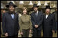 Mrs. Laura Bush joins Rabbi Mendel Minkowitz, left, Rabbi Hillel Baron and Rabbi Binyomin Taub, right, during the koshering of the White House kitchen Monday, Dec. 10, 2007, in anticipation of Monday night's lighting of the Menorah and Hanukah reception. White House photo by Chris Greenberg