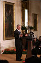 """President George W. Bush delivers remarks during the Celebration of Asian Pacific American Heritage Month Thursday, May 1, 2008, in the East Room of the White House. """"More than 15 million Americans claim Asian or Pacific ancestry. They make America's culture more vibrant, and we're a better place and a more lively place,"""" President Bush stated during his remarks. White House photo by Grant Miller"""