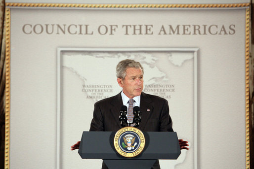 """President George W. Bush delivers remarks to the Council of the Americas Wednesday, May 7, 2008, at the Department of State in Washington, D.C. President Bush highlighted his policies in the Western Hemisphere, emphasizing the importance of congressional approval of the Colombia Free Trade Agreement. President Bush said, """"Once implemented, the Colombia Free Trade Agreement would immediately eliminate tariffs on more than 80 percent of American exports of industrial and consumer goods."""" White House photo by Chris Greenberg"""