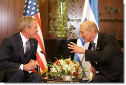 President George W. Bush and Israel's Prime Minister Ehud Olmert meet Wednesday, May 14, 2008, at the Prime Minister's residence in Jerusalem. White House photo by Joyce N. Boghosian