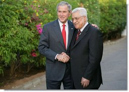 President George W. Bush shakes hands with Palestinian President Mahmoud Abbas Saturday, May 17, 2008, at the conclusion of their meeting with members of the media in Sharm el-Shiek, Egypt. White House photo by Chris Greenberg