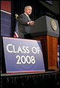President George W. Bush makes remarks during commencement ceremonies for the Greensburg High School Class of 2008. The town of Greensburg, KS was almost entirely destroyed when a tornado tore through the town one year ago today. White House photo by Chris Greenberg