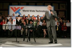 President George W. Bush addresses his remarks on the economy Friday, May 2, 2008, during his visit to World Wide Technology, Inc. in Maryland Heights, Mo.  White House photo by Chris Greenberg