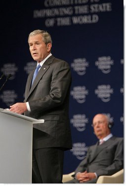 """President George W. Bush speaks before the World Economic Forum on the Middle East Sunday, May 18, 2008, in Sharm El Sheikh, Egypt. The President told his audience, """"I know these are trying times, but the future is in your hands –- and freedom and peace are within your grasp."""" White House photo by Chris Greenberg"""