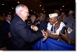 Vice President Dick Cheney shakes hands with veterans after addressing the Veterans of Foreign Wars 103rd National Convention in Nashville, Tenn. Monday, Aug. 26. White House photo by David Bohrer.