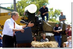 President George W. Bush addresses an audience of about 2,000 people at the Iowa State Fair Fairgrounds near Des Moines, Wednesday, Aug. 14. White House photo by Eric Draper.