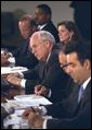 Vice President Dick Cheney listens to the concerns of panelists at the Helping Small Business discussion session at the President's Economic Forum at Baylor University in Waco, Texas on Tuesday August 13, 2002.