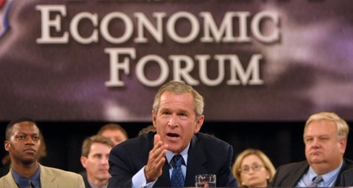 President George W. Bush makes a statement on how to improve the economy at the plenary session of the President's Economic Forum held at Baylor University in Waco, Texas on Tuesday August 13, 2002.