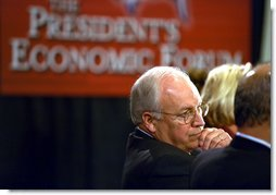 Vice President Dick Cheney listens to participants at the New Jobs Through Free Trade discussion session at the President's Economic Forum in Waco, Texas Tuesday August 13, 2002. White House photo by David Bohrer.