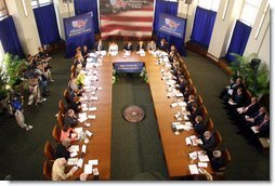 The President listens to concerns and ideas from panelists at the Small Investors and Retirement Security discussion session at the President's Economic Forum held at Baylor University in Waco, Texas on Tuesday August 13, 2002. White House photo by Paul Morse.