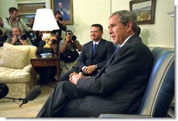 President George W. Bush holds a joint press conference with His King Majesty King Abdullah of the Hashemite Kingdom of Jordan in the Oval Office Thursday, Aug. 1. White House photo by Tina Hager.
