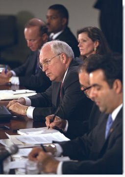 Vice President Dick Cheney listens to the concerns of panelists at the Helping Small Business discussion session at the President's Economic Forum at Baylor University in Waco, Texas on Tuesday August 13, 2002. White House photo by David Bohrer.