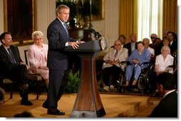 """President George W. Bush makes remarks on the 38th anniversary of Medicare in the East Room Wednesday, July 30, 2003. """"The 38th anniversary of Medicare is a time for action. The purpose of the Medicare system is to deliver modern medicine to America's seniors. That's the purpose. And in the 21st century, delivering modern medicine requires coverage for prescription drugs,"""" President Bush said.  White House photo by Paul Morse"""