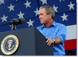President George W. Bush delivers remarks celebrating our National Independence Day, commemorating the 100th anniversary of flight, and honoring our troops at Wright-Patterson Air Force Base in Dayton, Ohio, July 4, 2003.  White House photo by Tina Hager