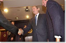President Bush greets members of the National Restaurant Association. White House photo by Eric Draper.