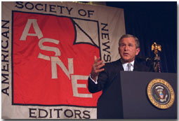 President George W. Bush Speaks at the American Society of Newspaper Editors luncheon on April 5, 2001 in Washington DC. WHITE HOUSE PHOTO BY PAUL MORSE