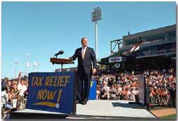 President Bush Speaks at Zephyr Field in New Orleans, Louisiana. White House photo by Paul Morse.