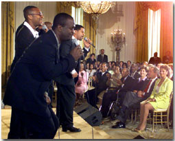Take 6 performs for President George W. Bush and First Lady Laura Bush during a Black Music Month celebration in the East Room of the White House on June 30, 2001. WHITE HOUSE PHOTO BY PAUL MORSE