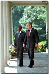 President Bush speaks with President Thabo Mbeki of South Africa Tuesday, June 26 at the White House. WHITE HOUSE PHOTO BY PAUL MORSE