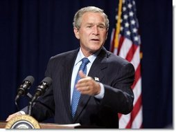 President George W. Bush makes a statement to the press during a stop in Raleigh, North Carolina on Wednesday July 7, 2004. The President was in North Carolina to meet with pending North Carolina judicial nominees.  White House photo by Paul Morse