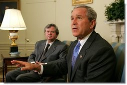 President George W. Bush meets with the Prime Minister David Oddsson of Iceland in the Oval Office Tuesday, July 6, 2004.  White House photo by Eric Draper
