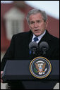 """President George W. Bush responds to a question Wednesday, Nov. 7, 2007, during a joint press availability with President Nicolas Sarkozy of France at Mount Vernon. Said the President, """"I can't thank the President enough for his willingness to stand with young democracies as they struggle against extremists and radicals.France's voice is important and it's clear that the human rights of every individual are important to the world."""" White House photo by Chris Greenberg"""