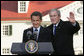 President George W. Bush and President Nicolas Sarkozy of France, shake hands after a joint press availability Wednesday, Nov. 7, 2007, at Mount Vernon, Va. Their meeting at the historic landmark came on the second day of the French leader's visit to the United States. White House photo by Chris Greenberg